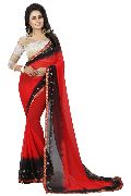 Black Red Bandhani Chiffon Sarees