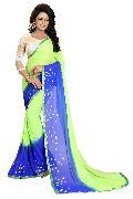 Green Blue Bandhani Chiffon Sarees