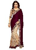 Maroon Velvet Embroidered Sarees