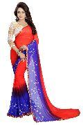 Red Blue Bandhani Chiffon Sarees