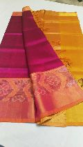handloom pure cotton silk ikkat border sarees