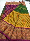 Handloom pure ikkat seiko soft silk sarees with big zari border