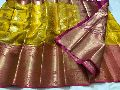 Kanchi kora silk sarees with heavy pallu and brocade blouse