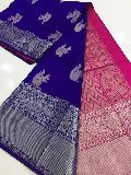 Kuppadam pattu sarees with kanchi border and plain contrast blouse