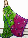 Machine embroidery on handloom cotton silk with worked blouse piece