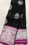 Pure silver kanchi kora silk sarees with rich brocade contrast blouse