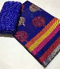 Soft cotton silk rainbow border tree boota saree with netted high quality blouse