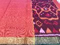 pochampally kora silk cotton sarees with contrast blouse