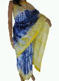 Blue and Yellow Bandhani Cotton Sarees