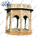 ANTIQUE CARVED WHITE SANDSTONE GAZEBO