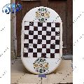 WHITE OVAL DESIGNER TABLE TOP