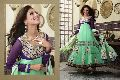 Aqua Purple Colour Party Wear Anarkali Salwar Kameez