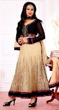 Cream Black Colored Party Wear Long Anarkali Salwar Suits