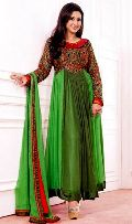 Green Red Wedding Wear Attractive Long Anarkali Suit