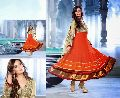 Orange Gold Foil Colour Designer Salwar Kameez