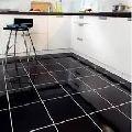 glossy black floor tiles