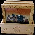 Wooden Gemstone Painting Coaster Set