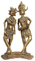 Brass Dancing Tribal Couple Statue