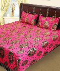Cotton Superb Red Floral Double Bed Sheet