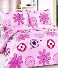 Pink Floral Cotton Double Bedsheet