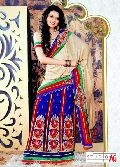 Golden and Blue Georgette Lehenga Style Saree
