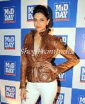Bollywood Star Deepika Padukone Brown Leather Jacket