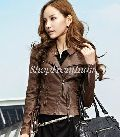 Custom Made Women Brown Lamb Leather Jacket