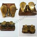 Folding Brass Antique Binocular with Brown Leather Case