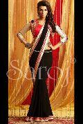 Trendy black coati blouse saree
