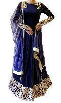 BLUE GOLD ANARKALI SUIT